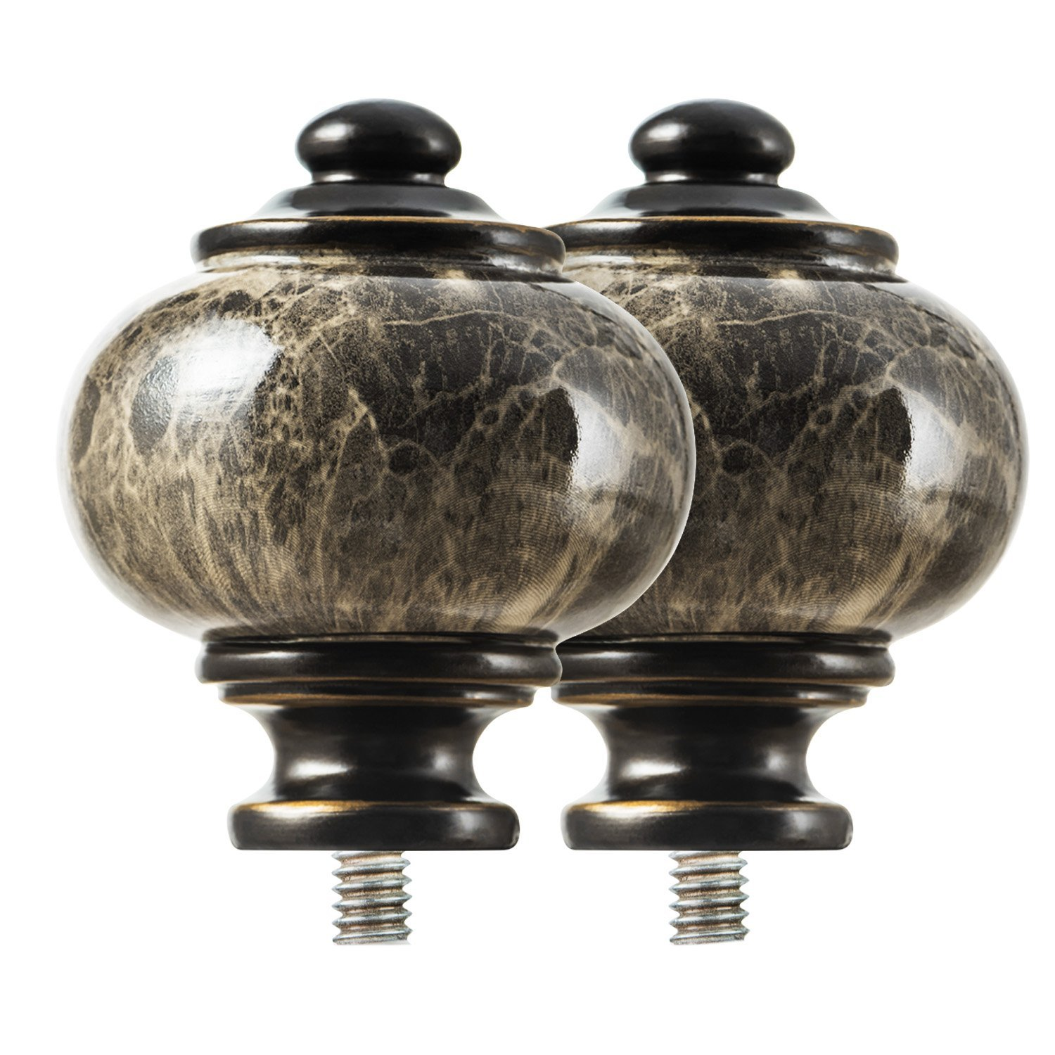 2pcs KAMANINA Netted Texture Replacement Finials for 1 Inch Curtain rods M6 Standard Screw Drapery Rod Finials Bronze